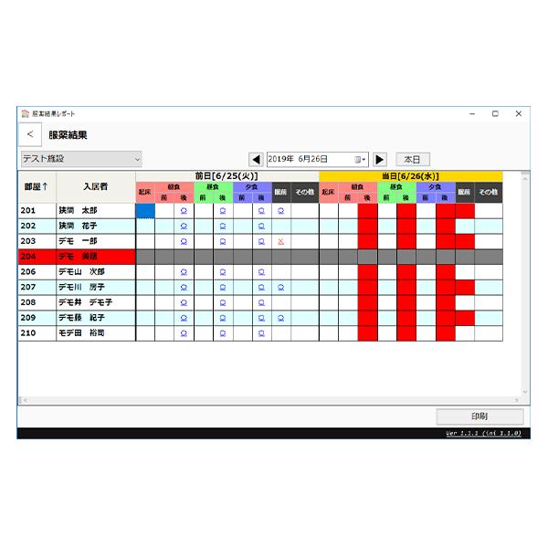 誤薬防止システム nondi®専用アプリ「nondi-home」チェツク履歴データ管理